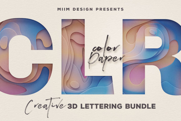 Print on Demand: Color Paper – 3D Lettering Graphic Objects By JumboDesign