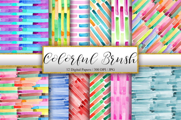 Colorful Brush Strokes Background Graphic Backgrounds By PinkPearly