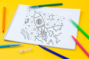 Print on Demand: Coloring Page Outer Space Theme for Kids Graphic Coloring Pages & Books Kids By doridodesign