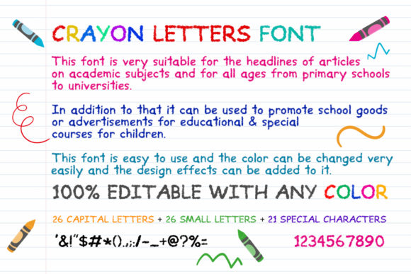 Download Free Crayon Letters Font By Owpictures Creative Fabrica for Cricut Explore, Silhouette and other cutting machines.