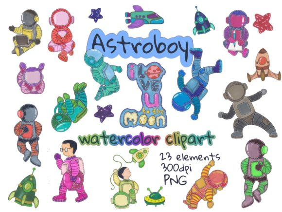 Cute Astronaut Watercolor Clipart Graphic Illustrations By greentosca.std