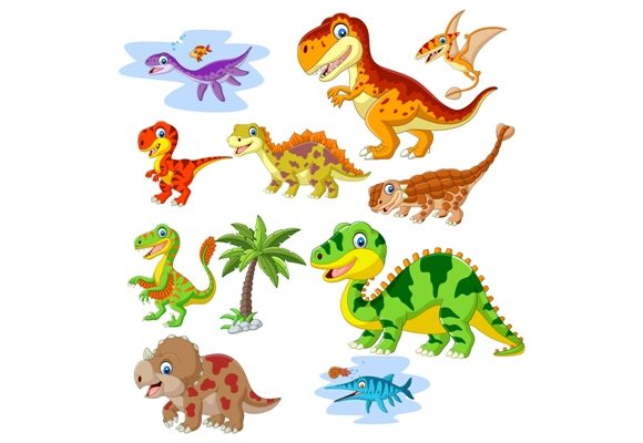 Download Free Cute Dinosaurs Cartoon Graphic By Tigatelusiji Creative Fabrica for Cricut Explore, Silhouette and other cutting machines.