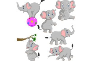 Cute Elephants Cartoon Graphic Illustrations By tigatelusiji
