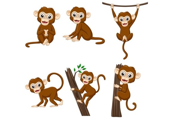 Download Free Cute Monkey Cartoon Graphic By Tigatelusiji Creative Fabrica for Cricut Explore, Silhouette and other cutting machines.