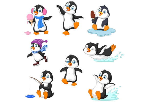 Download Free Cute Penguin Cartoon Graphic By Tigatelusiji Creative Fabrica for Cricut Explore, Silhouette and other cutting machines.