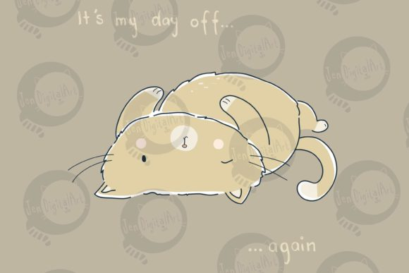 Day off Cat Graphic Illustrations By Jen Digital Art