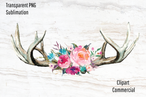 Print on Demand: Deer Antlers, Bright Watercolor Flowers Graphic Illustrations By Blueberry Jam Design