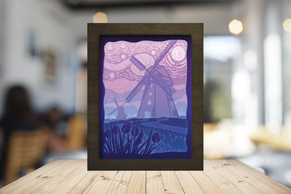 Print on Demand: Dutch Windmills Paper Cutting Light Box Graphic 3D Shadow Box By LightBoxGoodMan