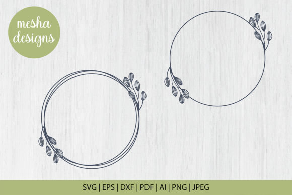 Print on Demand: Floral Circle Frame Cut File Graphic Crafts By DIYCUTTINGFILES