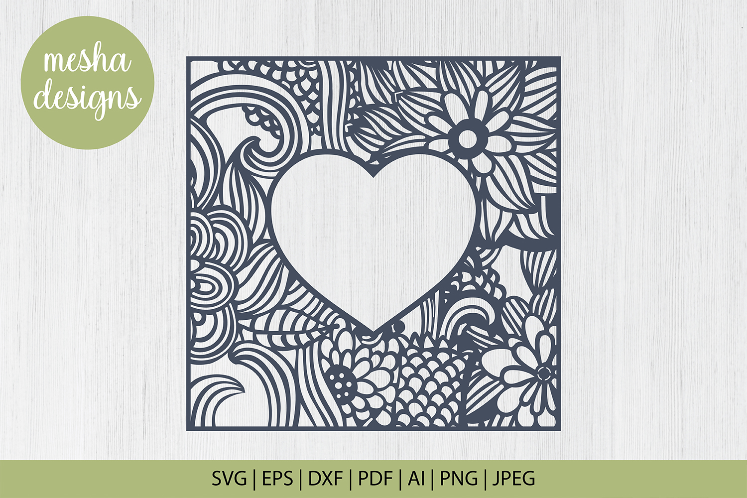 Download Free Floral Heart Frame Graphic By Diycuttingfiles Creative Fabrica for Cricut Explore, Silhouette and other cutting machines.