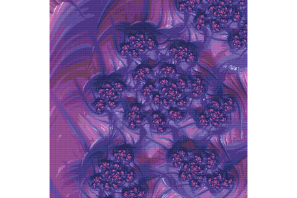 Print on Demand: Fractal Cross Stitch Pattern - Purple Graphic Cross Stitch Patterns By StitchX Designs - Image 1