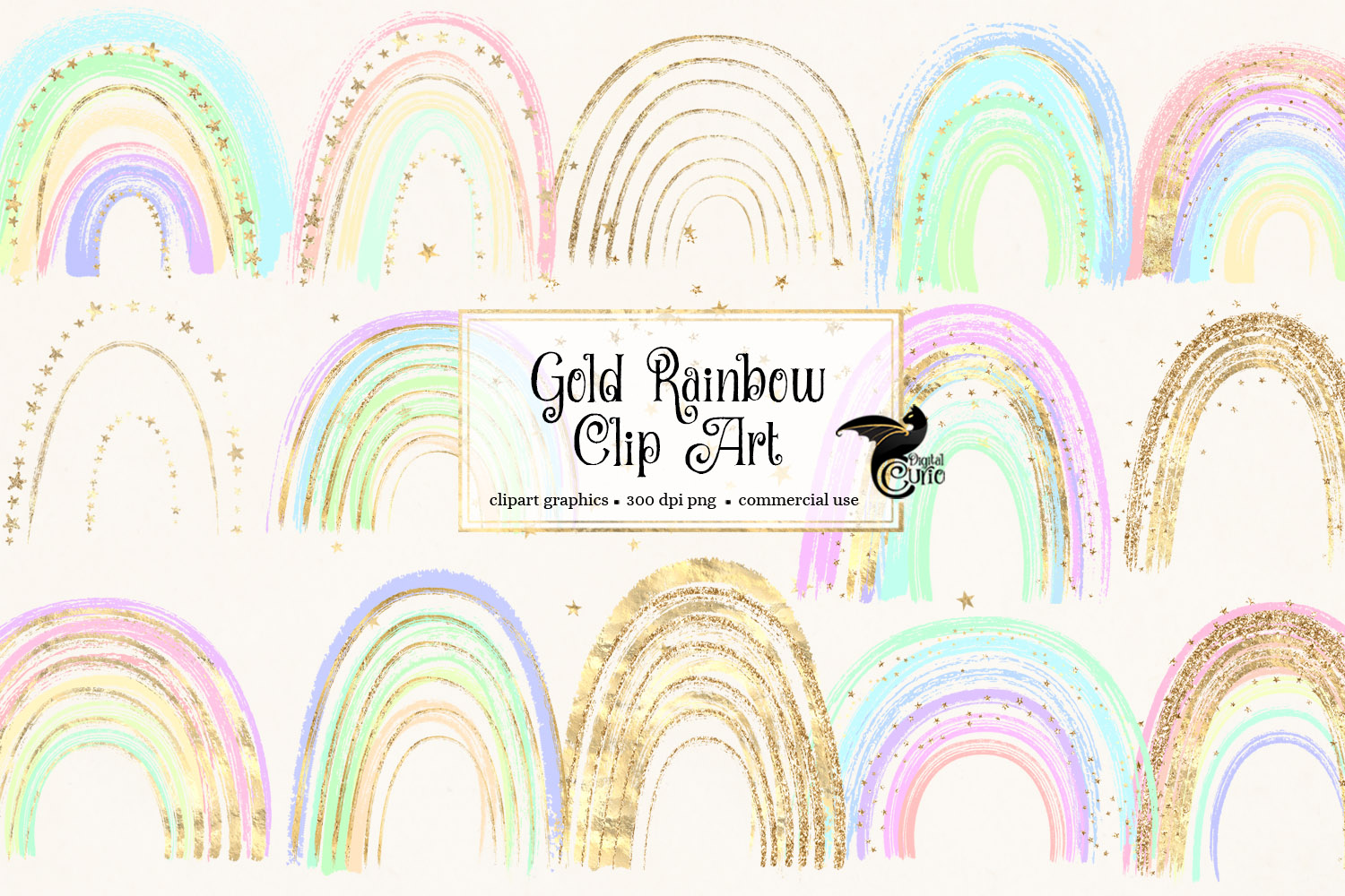 Download Free Gold Rainbows Clipart Graphic By Digital Curio Creative Fabrica for Cricut Explore, Silhouette and other cutting machines.