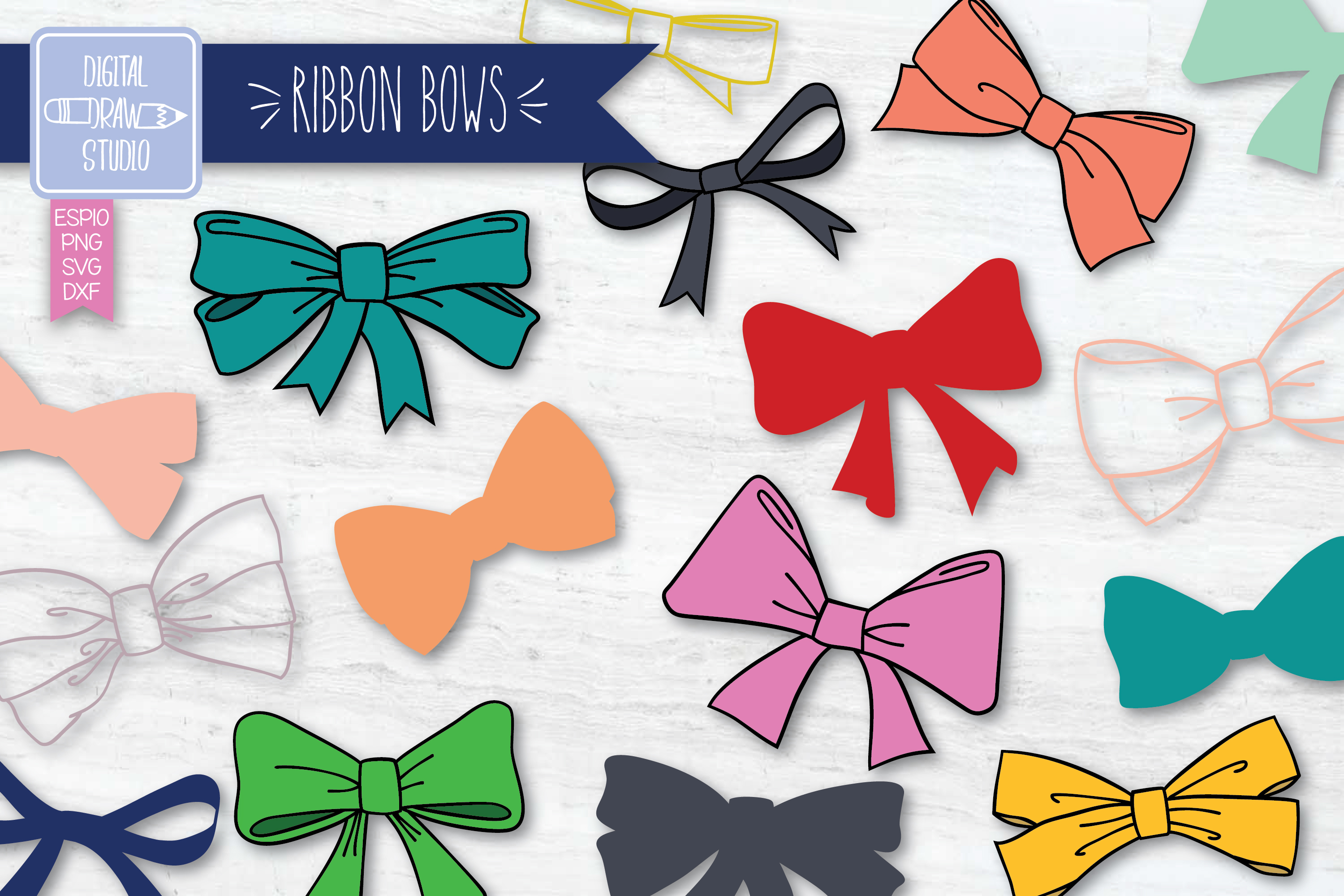 Download Free Hand Drawn Ribbon Bow Color Illustration Graphic By for Cricut Explore, Silhouette and other cutting machines.