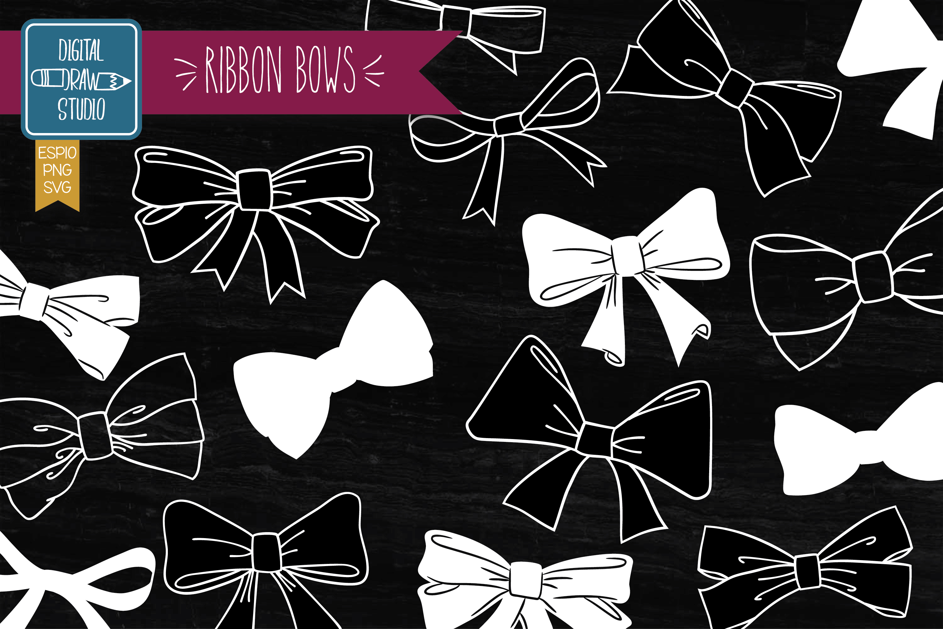 Download Free Hand Drawn Ribbon Bow Illustration White Graphic By for Cricut Explore, Silhouette and other cutting machines.