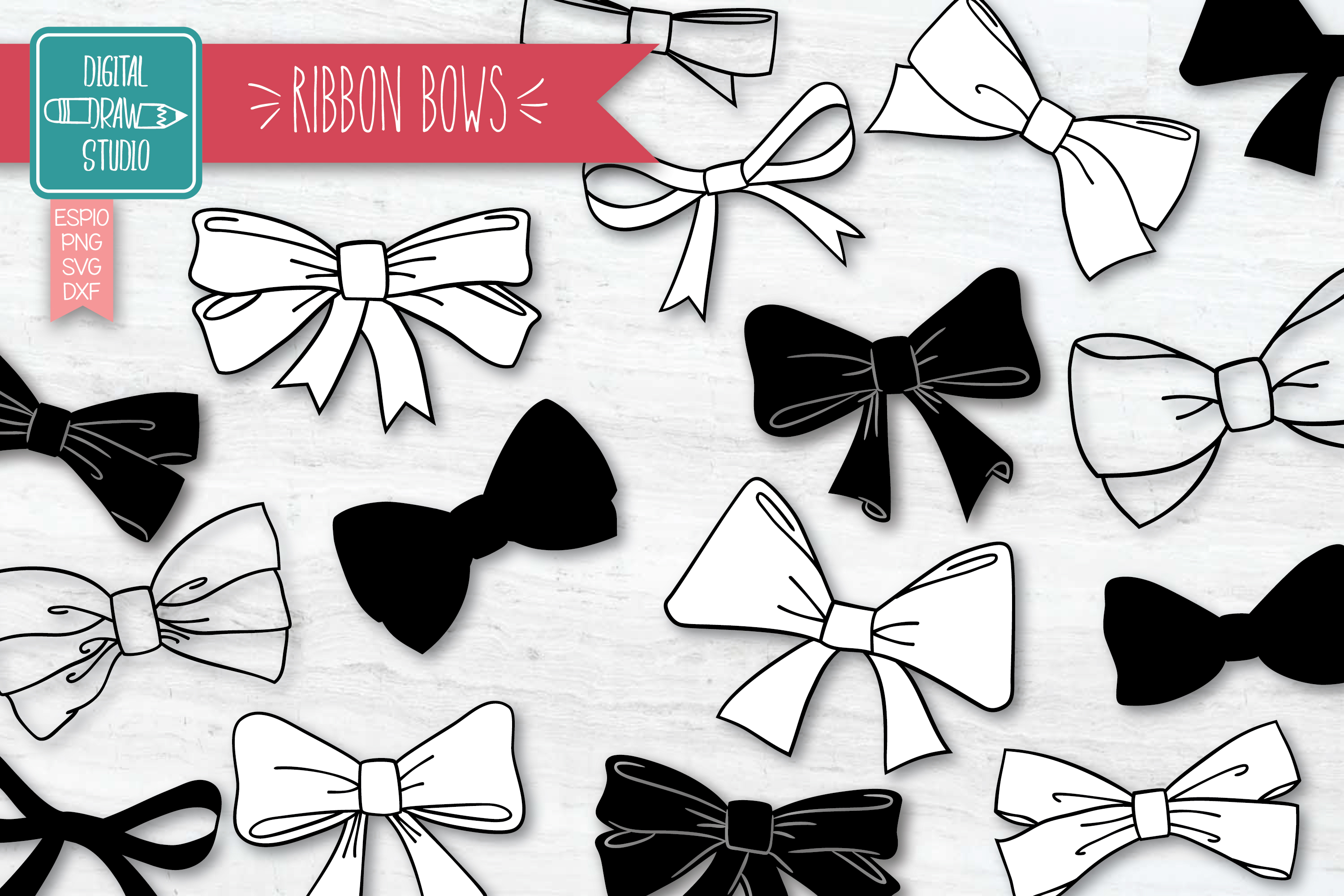 Download Free Hand Drawn Ribbon Bow Tie Illustration Graphic By for Cricut Explore, Silhouette and other cutting machines.