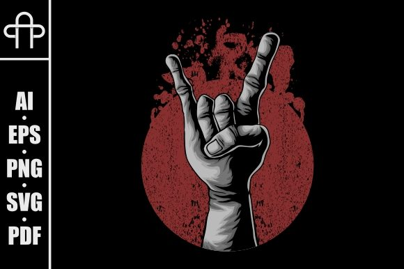 Print on Demand: Hand in Rock Vector Illustration Graphic Illustrations By Andypp