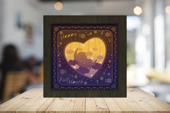 Print on Demand: Happy Baby's Full Month Shadow Box Graphic 3D Shadow Box By LightBoxGoodMan