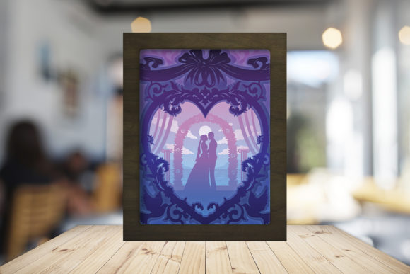 Happy Wedding 3D Paper Cutting Light Box Graphic 3D Shadow Box By LightBoxGoodMan