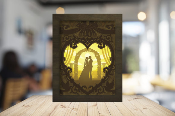 Download Free Happy Wedding 3d Paper Cutting Light Box Graphic By Lightboxgoodman Creative Fabrica for Cricut Explore, Silhouette and other cutting machines.