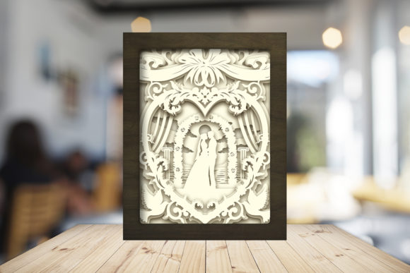 Happy Wedding 3D Paper Cutting Light Box Graphic 3D Shadow Box By LightBoxGoodMan - Image 3