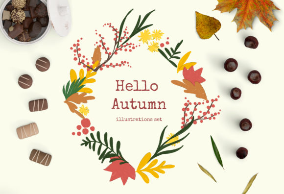 Hello Autumn Clipart Graphic Illustrations By shalaeva