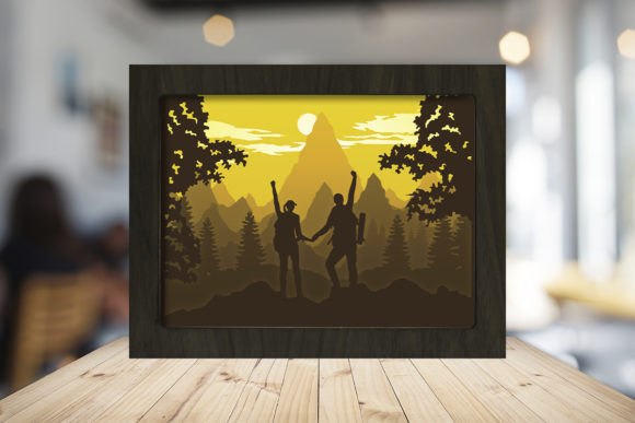 Hike a Mountain Paper Cutting Light Box Graphic 3D Shadow Box By LightBoxGoodMan