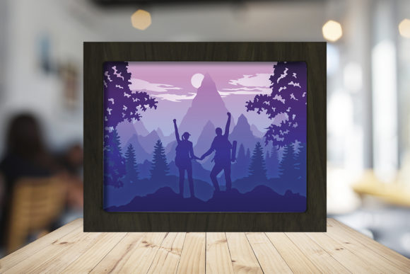 Hike a Mountain Paper Cutting Light Box Graphic Download
