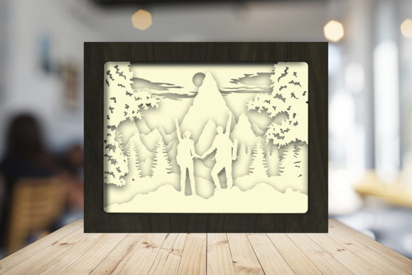 Hike a Mountain Paper Cutting Light Box Graphic Item