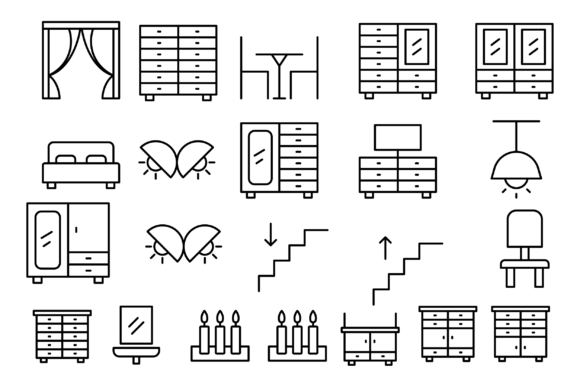 Download Free Furniture Indoor And Household Icons Graphic By Designvector10 for Cricut Explore, Silhouette and other cutting machines.