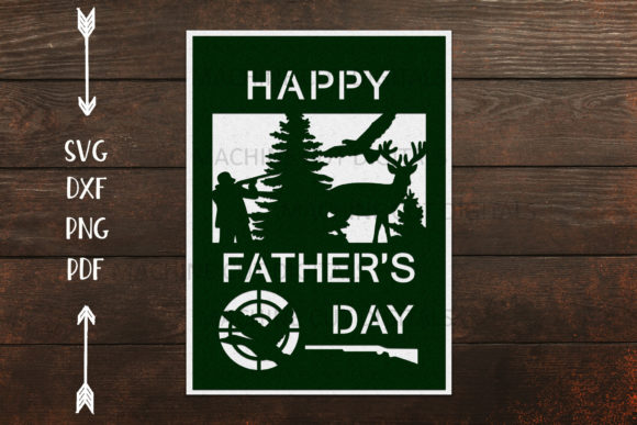 Download Free Hunting Father S Day Cut Out Card Graphic By Cornelia Creative for Cricut Explore, Silhouette and other cutting machines.