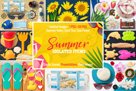 Isolated Summer Items Graphic Objects By pixaroma