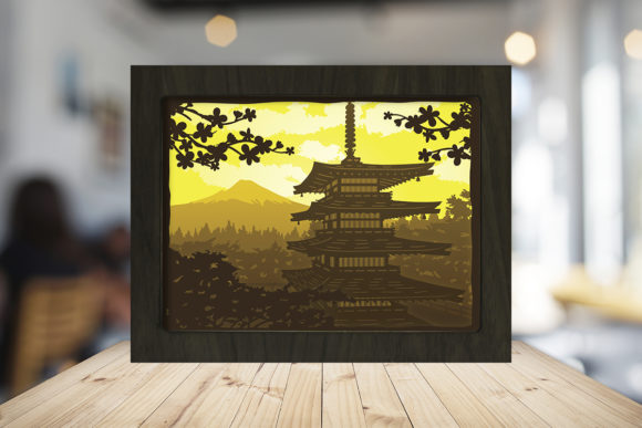 Japan Pagoda 3D Paper Cutting Light Box Graphic