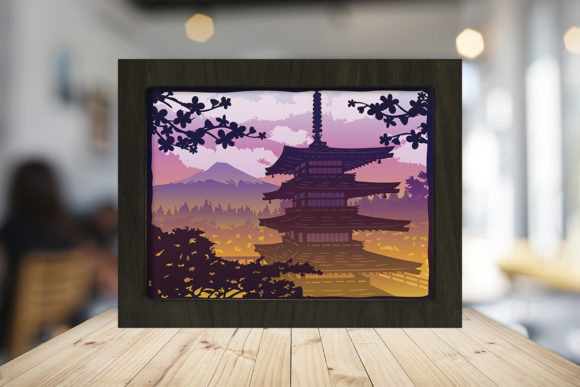 Download Free Japan Pagoda 3d Paper Cutting Light Box Graphic By for Cricut Explore, Silhouette and other cutting machines.