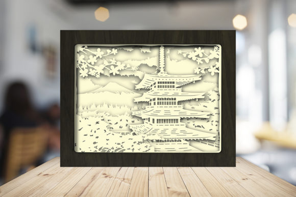 Japan Pagoda 3D Paper Cutting Light Box Graphic Item