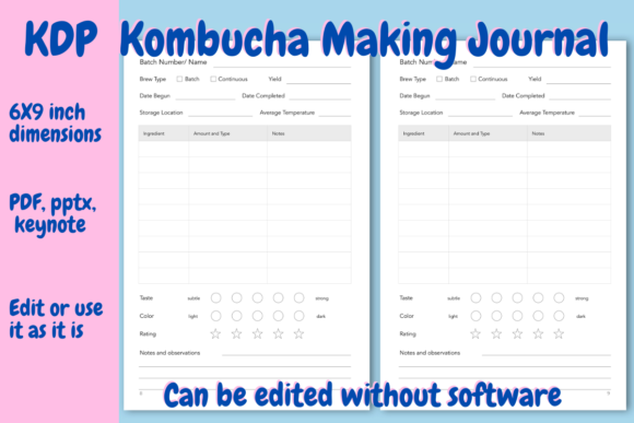 Print on Demand: Kombucha Journal for KDP Graphic KDP Interiors By Income Plum