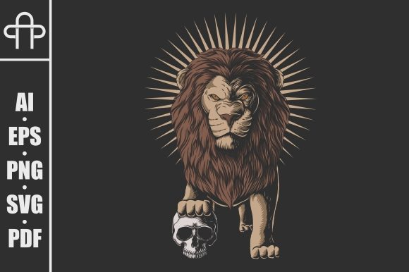 Download Free Lion Stepped On A Human Skull Graphic By Andypp Creative Fabrica for Cricut Explore, Silhouette and other cutting machines.