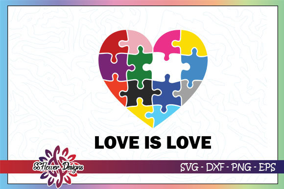 Download Free Love Is Love Heart Puzzle Lgbt Graphic By Ssflower Creative for Cricut Explore, Silhouette and other cutting machines.