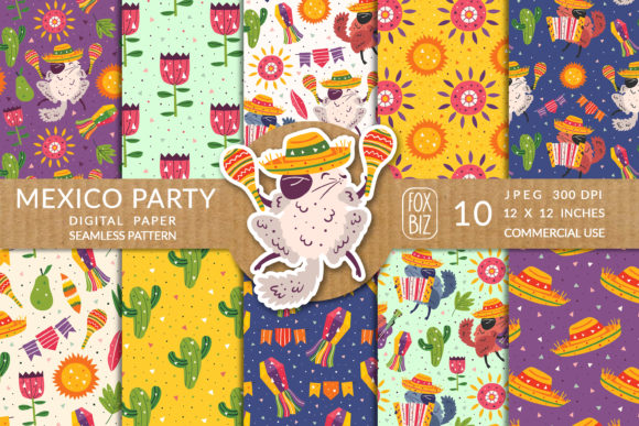 Print on Demand: Mexico Party Prints, Seamless Patterns. Graphic Patterns By FoxBiz