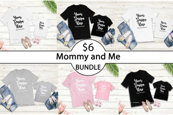 Print on Demand: Mommy and Me Tshirt Mockup Bundle Graphic Product Mockups By Mockup Station - Image 1