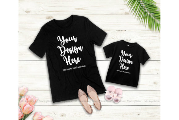 Print on Demand: Mommy and Me Tshirt Mockup Bundle Graphic Product Mockups By Mockup Station - Image 2