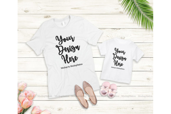 Print on Demand: Mommy and Me Tshirt Mockup Bundle Graphic Product Mockups By Mockup Station - Image 4