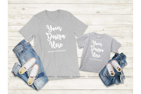 Print on Demand: Mommy and Me Tshirt Mockup Bundle Graphic Product Mockups By Mockup Station - Image 5