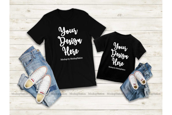 Print on Demand: Mommy and Me Tshirt Mockup Bundle Graphic Product Mockups By Mockup Station - Image 6