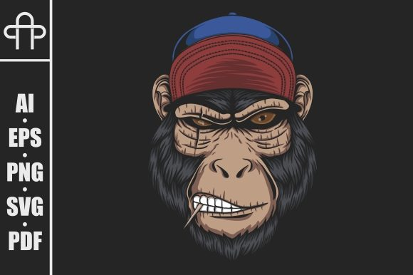 Print on Demand: Monkey Head Cap Vector Illustration Graphic Illustrations By Andypp