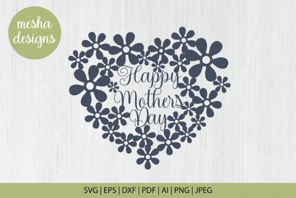 Download Free Mothers Day Heart Frame Craft File Graphic By Diycuttingfiles for Cricut Explore, Silhouette and other cutting machines.