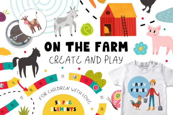 On the Farm - Create & Play Graphic Illustrations By Juliya Kochkanyan