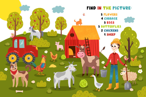 Download Free On The Farm Create Play Graphic By Juliya Kochkanyan for Cricut Explore, Silhouette and other cutting machines.