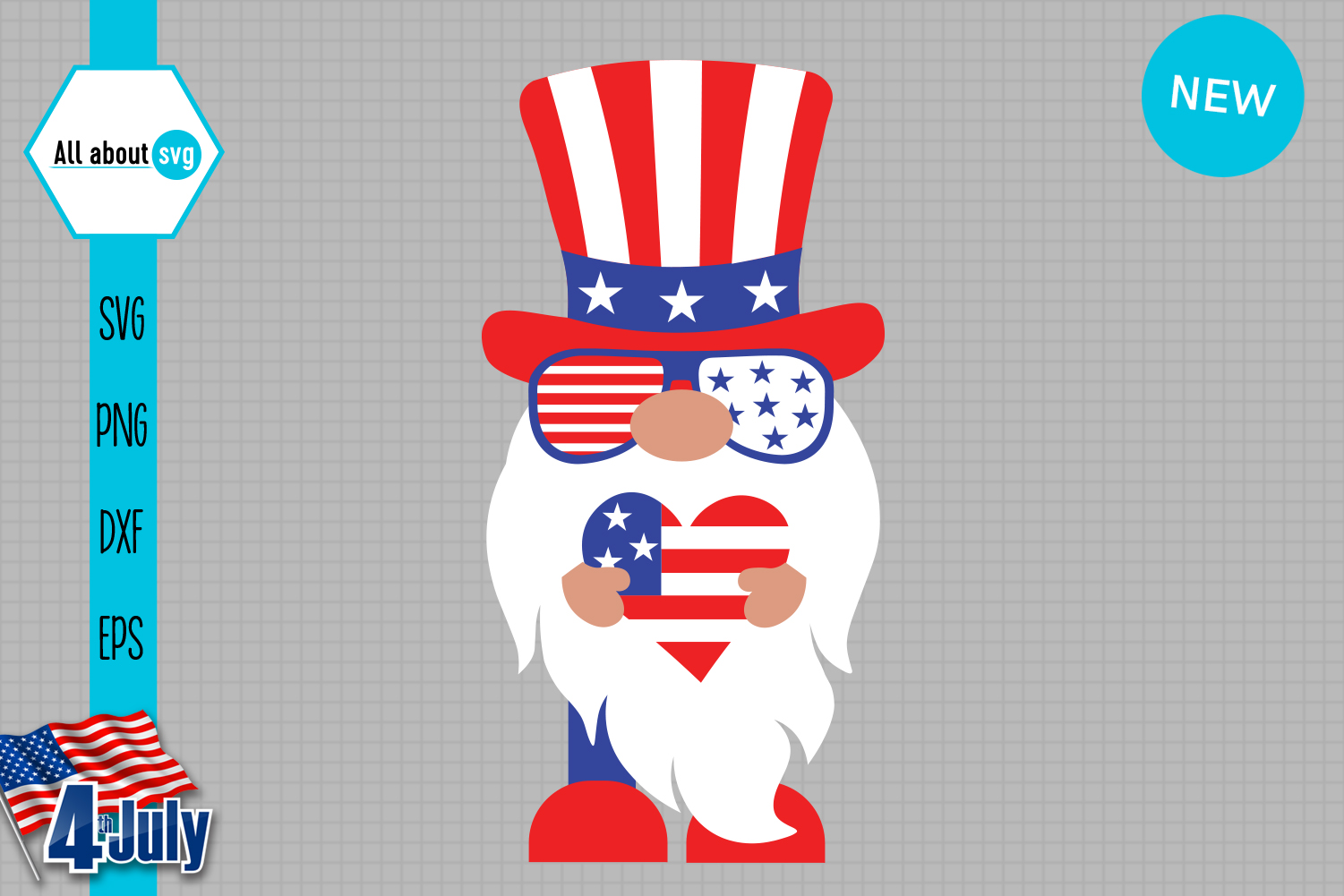 Download Free Patriotic Gnome Graphic By All About Svg Creative Fabrica for Cricut Explore, Silhouette and other cutting machines.