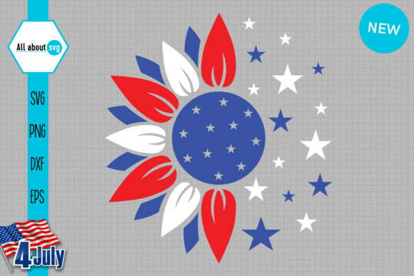 Download Free Patriotic Sunflower Graphic By All About Svg Creative Fabrica for Cricut Explore, Silhouette and other cutting machines.