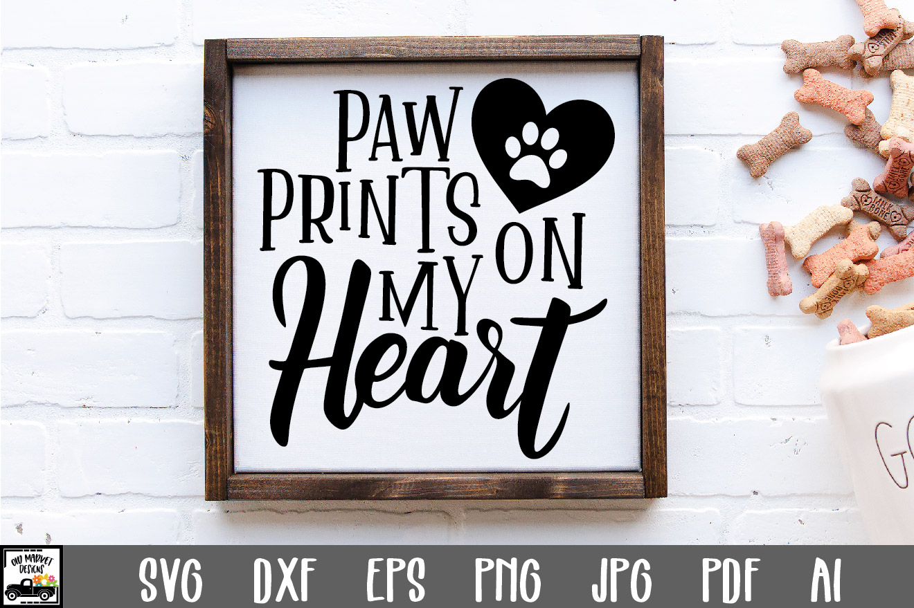 Download Free Paw Prints On My Heart Cut File Graphic By Oldmarketdesigns for Cricut Explore, Silhouette and other cutting machines.
